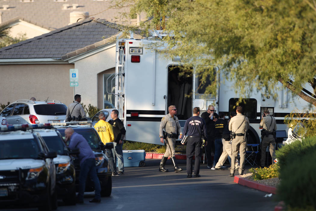 Police activity at the Apache Pines Apartments on the 9500 block of Tropicana Avenue, near Fort Apache Road, where robbery suspects barricaded, in Las Vegas, Saturday, Nov. 17, 2018. Erik Verduzco ...