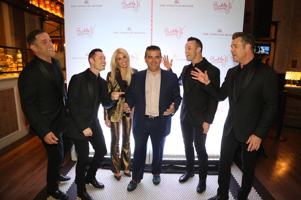 """Human Nature performs """"Under the Boardwalk"""" for Lisa and Buddy Valastro at the fifth anniversary of Buddy V's at the Venetian's Grand Canal Shoppes on Thursday, Nov. 15, 2018. (Edison Graff)"""