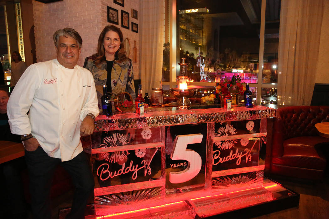 Las Vegas restauranteurs Kim Canteenwalla and Elizabeth Blau are shown at the fifth anniversary of Buddy V's at the Venetian's Grand Canal Shoppes on Thursday, Nov. 15, 2018. (Edison Graff)