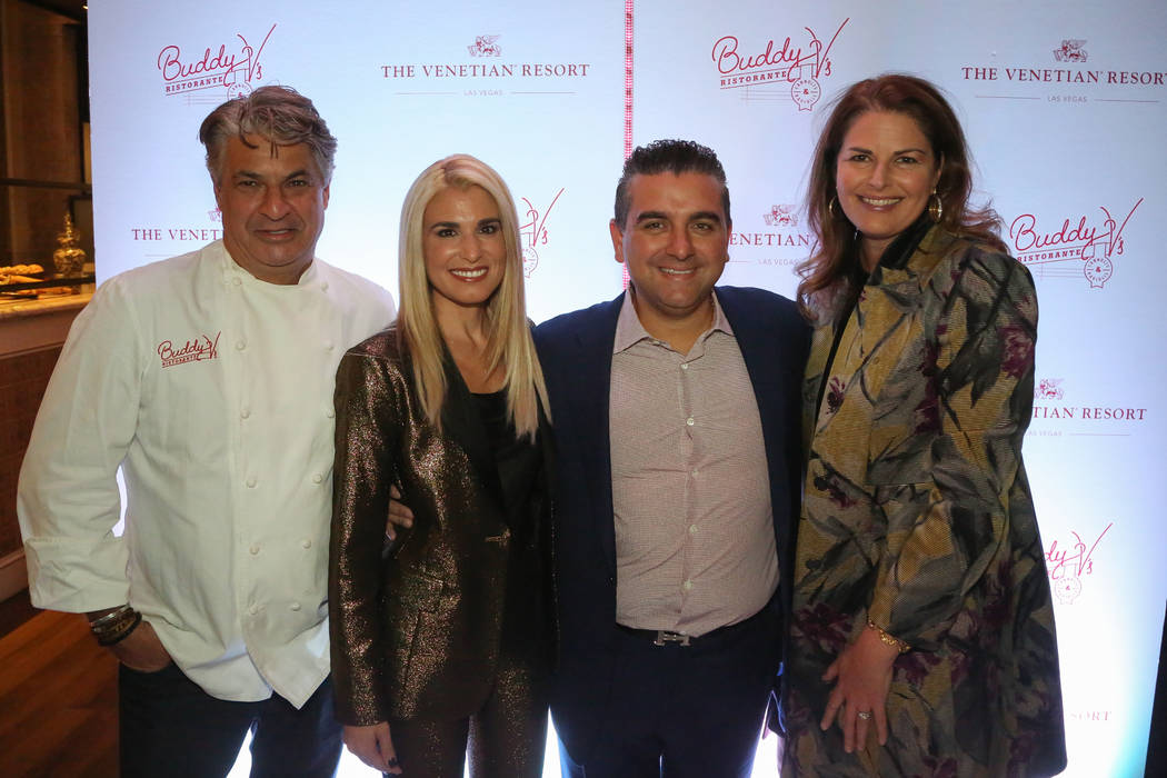 Kim Canteenwalla, Lisa Valastro, Buddy Valastro and Kim Canteenwalla are shown at the fifth anniversary of Buddy V's at the Venetian's Grand Canal Shoppes on Thursday, Nov. 15, 2018. (Edison Graff)