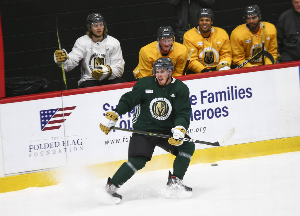 Golden Knights defenseman Nate Schmidt (88) skates during practice at City National Arena in Las Vegas on Wednesday, Sept. 19, 2018. Chase Stevens Las Vegas Review-Journal @csstevensphoto