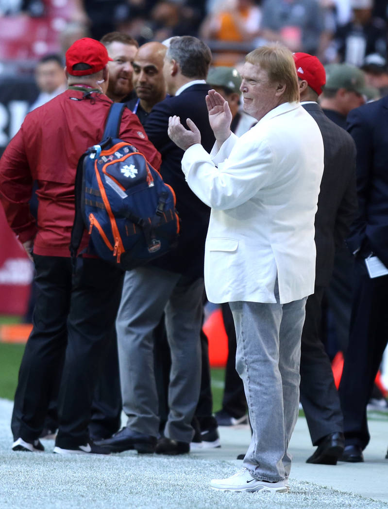 Oakland Raiders owner Mark Davis claps prior to the start of an NFL game between the Arizona Cardinals and the Oakland Raiders in Glendale, Ariz., Sunday, Nov. 18, 2018. Heidi Fang Las Vegas Revie ...
