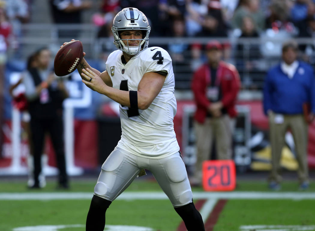 Oakland Raiders quarterback Derek Carr (4) prepares to throw the football during the first half of an NFL game against the Arizona Cardinals in Glendale, Ariz., Sunday, Nov. 18, 2018. Heidi Fang L ...