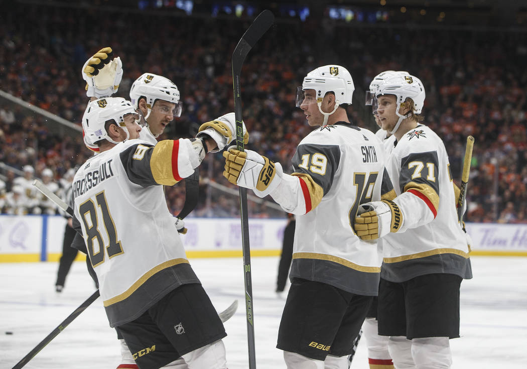 Vegas Golden Knights celebrate a goal against the Edmonton Oilers during the third period of an NHL hockey game Sunday, Nov. 18, 2018, in Edmonton, Alberta. (Jason Franson/The Canadian Press via AP)