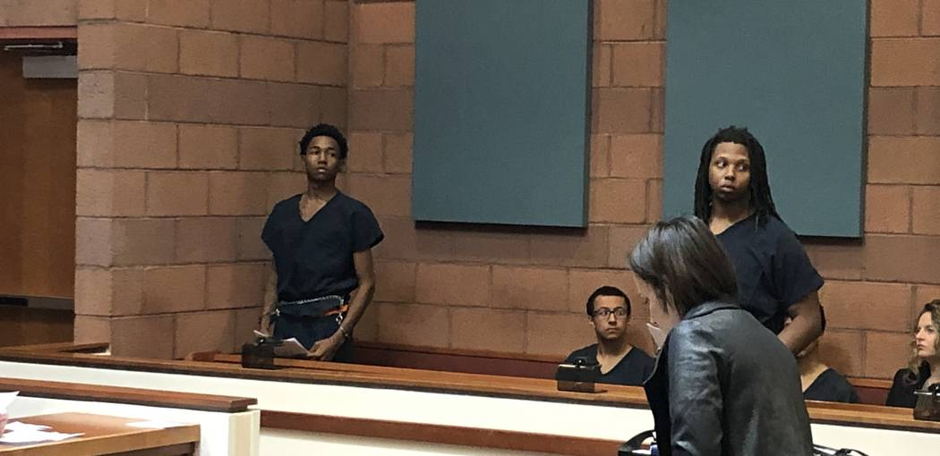 Damion Dill, left, and Jarquan Tiffith appear in North Las Vegas Justice Court on Wednesday, Nov. 14, 2018. (David Ferrara/Las Vegas Review-Journal)