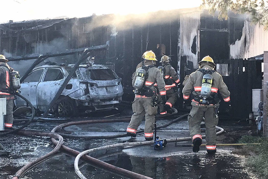 Firefighters work at 5405 Tahoe Drive in Las Vegas on Sunday, Nov. 18, 2018. (Clark County Fire Department)