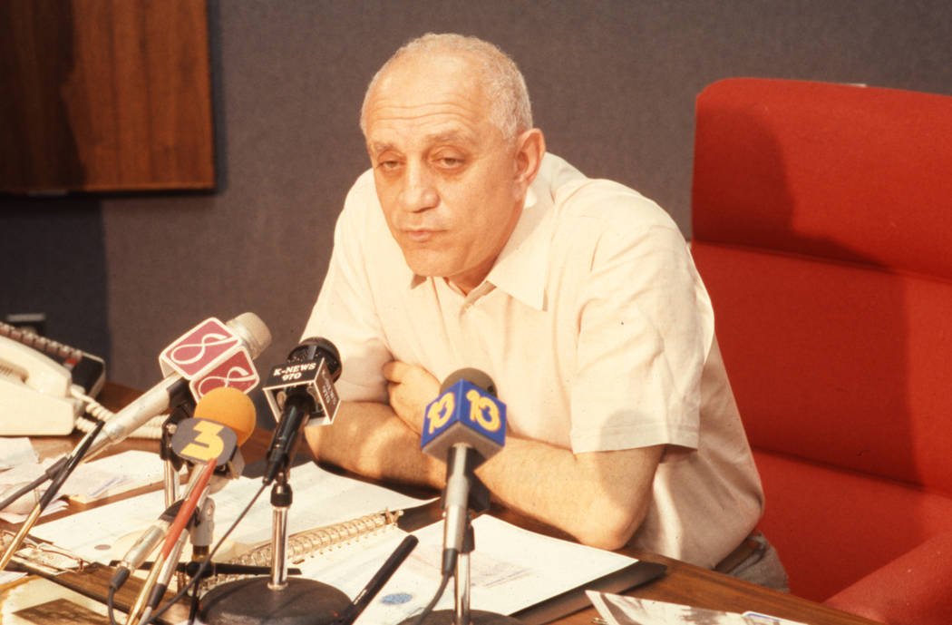 UNLV men's basketball coach Jerry Tarkanian answers questions about the arrest of prize recruit Lloyd Daniels during a press conference. (Review-Journal File)