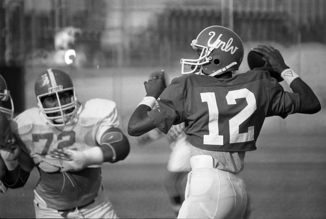 UNLV freshman quarterback Randall Cunningham during scrimmage in1981. (Review-Journal File)