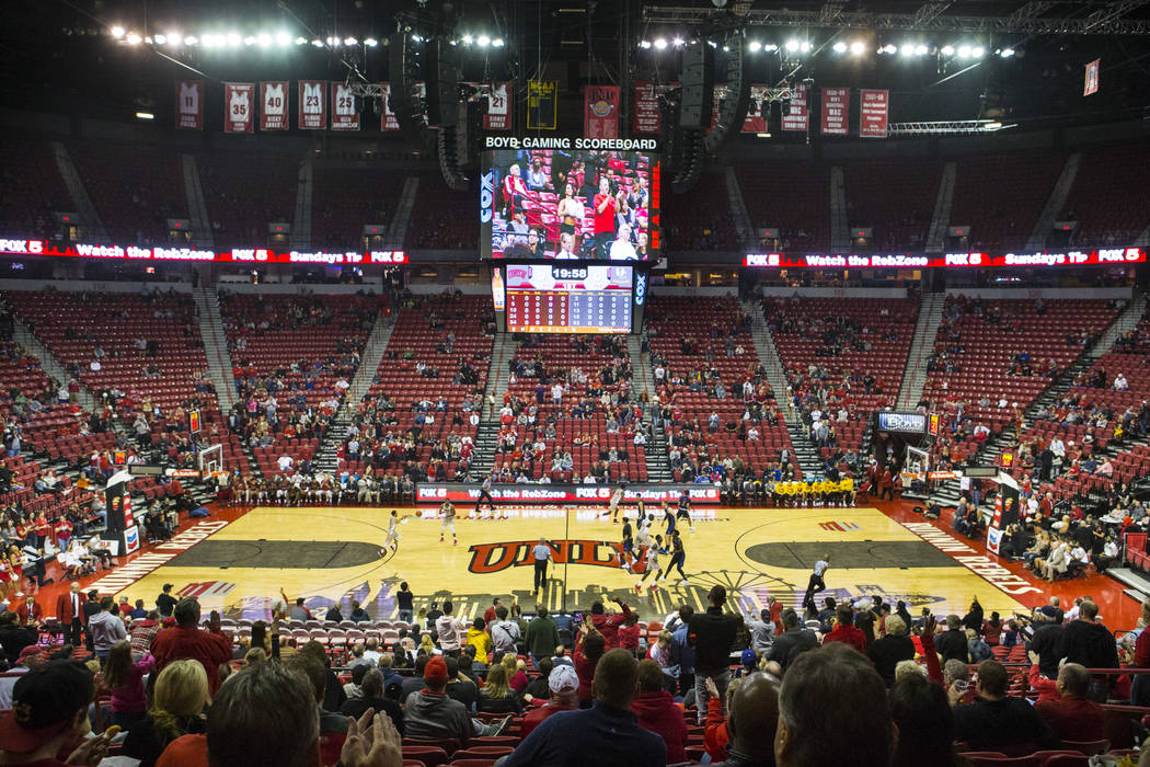 UNLV Rebels take on the UC Riverside Highlanders just after tipoff in a basketball game at the Thomas & Mack Center in Las Vegas on Tuesday, Nov. 13, 2018. The announced attendance for the gam ...
