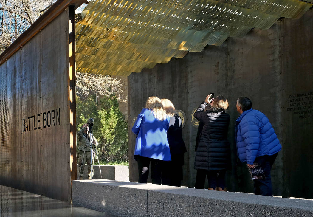 Nevada's Battle Born Memorial, honoring 895 service personnel from the state who have died in America's wars, was dedicated Friday, Nov. 9, 2018, on the grounds of the state Capitol in Carson City ...