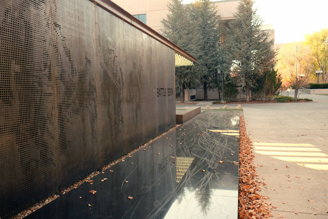 The state's new Battle Born Memorial cost $450,000 to erect. Officials have not announced how they will repair damage from joy-riding teens on bicycles and scooters or how much it weill cost. (Bil ...