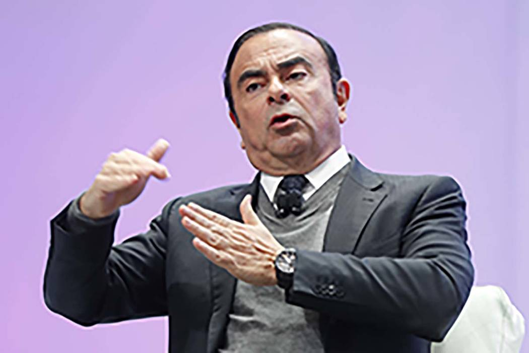 n this Jan. 9, 2017, file photo, Carlos Ghosn, Chairman of the Board and Chief Executive Officer of Nissan Motor Co., Ltd., speaks at the North American International Auto Show in Detroit. (AP Pho ...