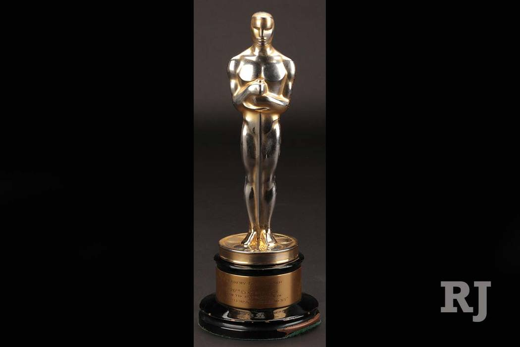 """This undated image provided by Profiles in History shows the best picture Academy Award for """"Gentleman's Agreement."""" The Oscar the 1947 film starring Gregory Peck that took on anti-Semitism and wo ..."""