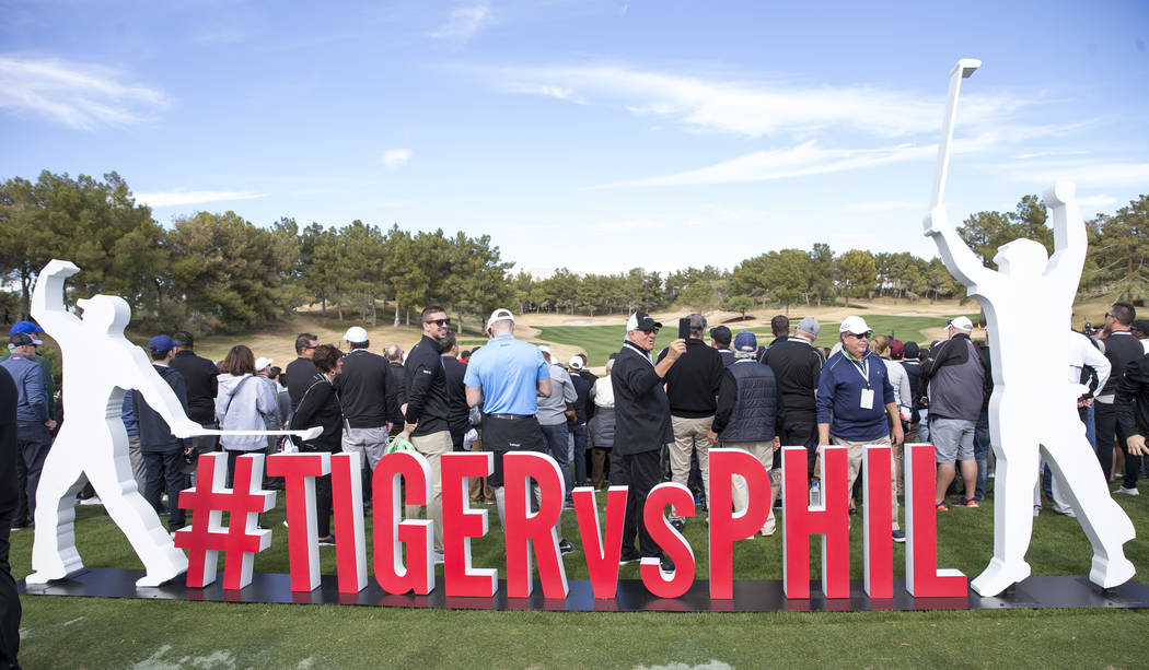 A Tiger vs Phil sign is seen ahead of The Match at Shadow Creek Golf Course in North Las Vegas on Friday, Nov. 23, 2018. Richard Brian Las Vegas Review-Journal @vegasphotograph