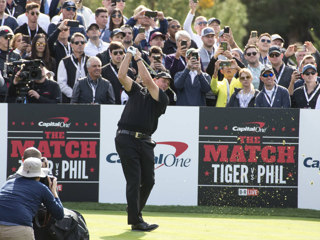 Phil Mickelson hits from the first tee box during The Match at Shadow Creek Golf Course in North Las Vegas on Friday, Nov. 23, 2018. Richard Brian Las Vegas Review-Journal @vegasphotograph