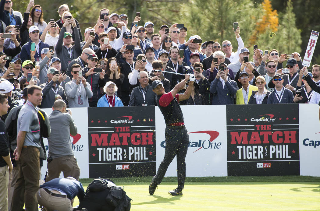 Tiger Woods hits from the first tee box during The Match at Shadow Creek Golf Course in North Las Vegas on Friday, Nov. 23, 2018. Richard Brian Las Vegas Review-Journal @vegasphotograph