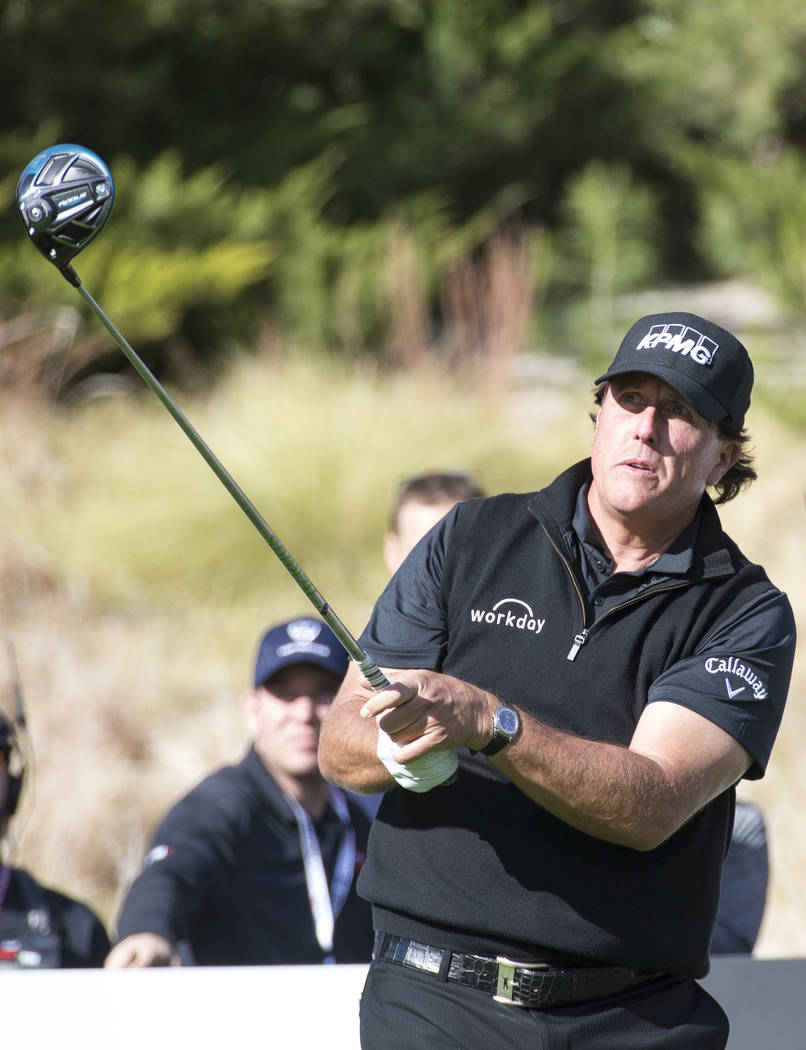 Phil Mickelson hits from the fourth tee box during The Match at Shadow Creek Golf Course in North Las Vegas on Friday, Nov. 23, 2018. Richard Brian Las Vegas Review-Journal @vegasphotograph