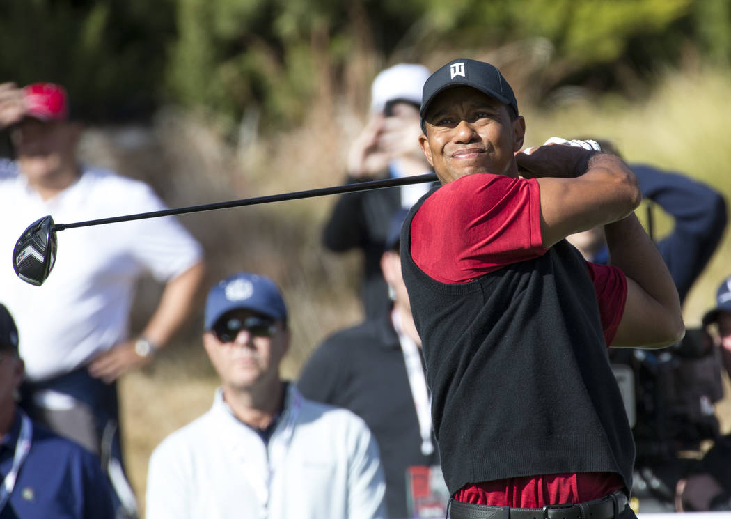 Tiger Woods hits from the fourth tee box during The Match at Shadow Creek Golf Course in North Las Vegas on Friday, Nov. 23, 2018. Richard Brian Las Vegas Review-Journal @vegasphotograph
