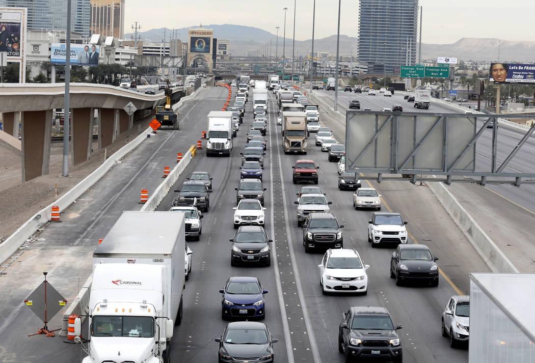Traffic backs up in the northbound lanes of Interstate 15 in Las Vegas in this file photo. Bizuayehu Tesfaye/Las Vegas Review-Journal @bizutesfaye