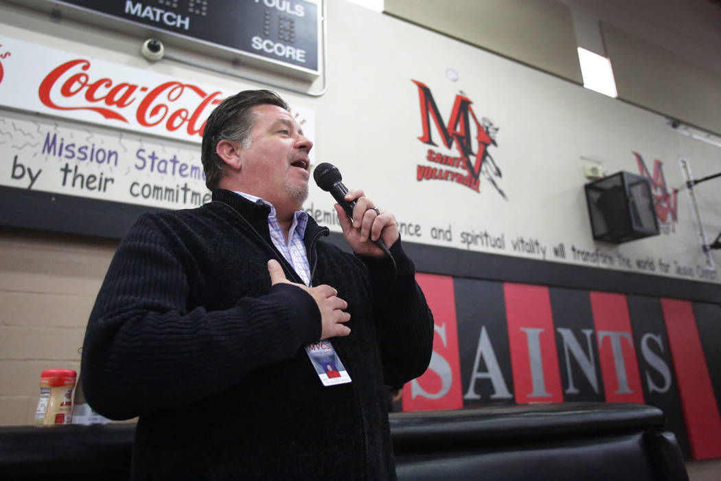 Raymond LeBoeuf, head principal of Mountain View Christian Schools, welcomes students to the Thanksgiving potluck at the school in Las Vegas on Friday, Nov. 16, 2018. Michael Quine/Las Vegas Revie ...