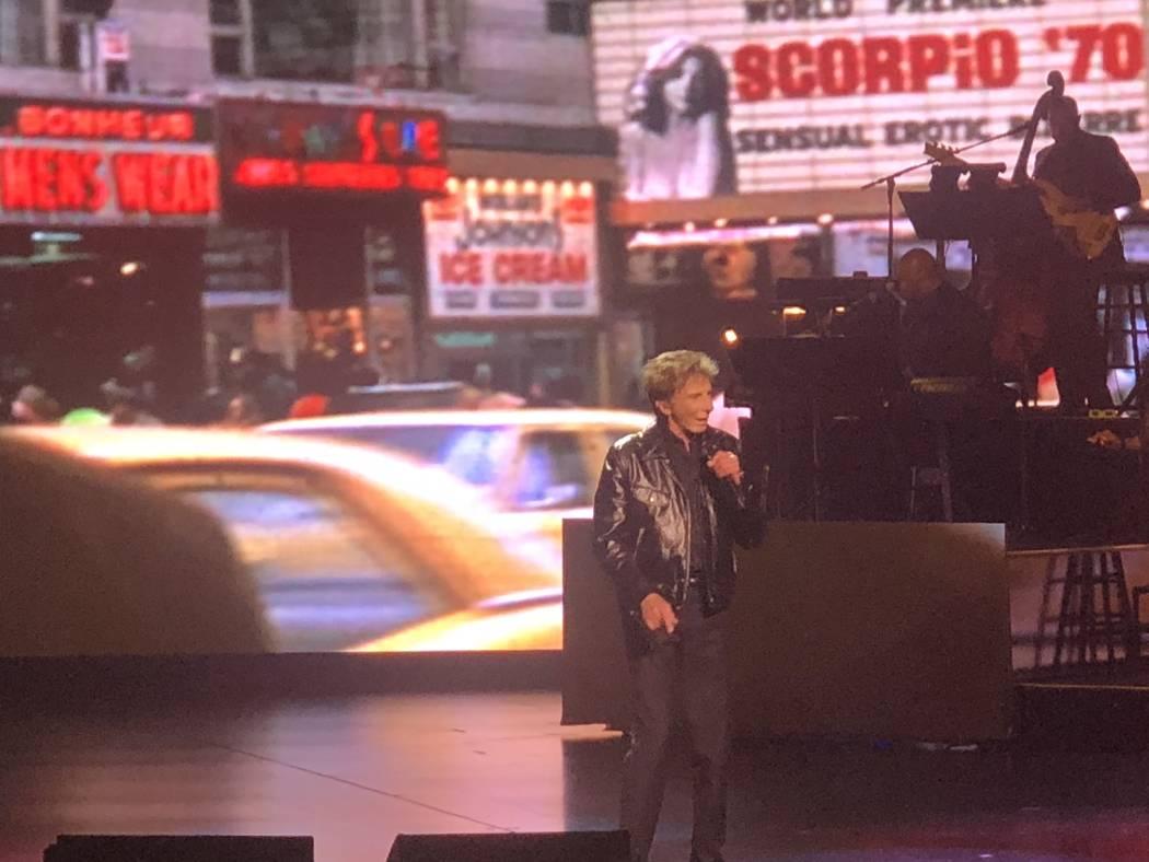 In his New York vibe, Barry Manilow is shown at International Theater on Thrusday, July 19, 2018. (John Katsilometes/Las Vegas Review-Journal) @JohnnyKats