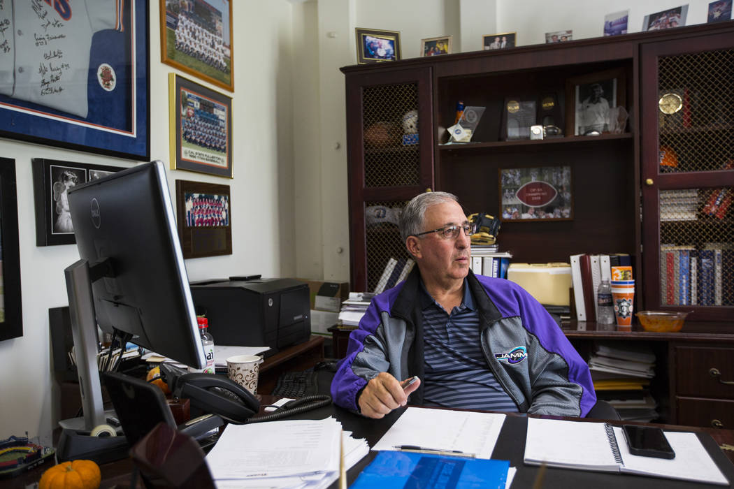 Steve DiTolla, senior associate athletic director at Cal State Fullerton, in his office on campus in Fullerton, Calif. on Wednesday, Oct. 31, 2018. Chase Stevens Las Vegas Review-Journal @cssteven ...