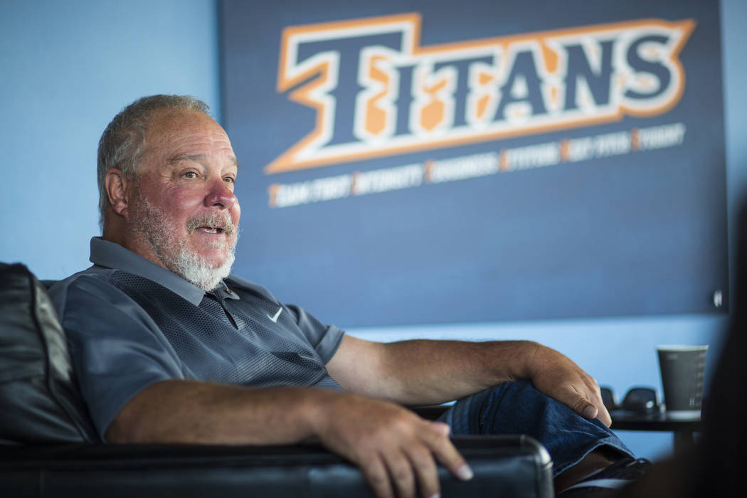 Baseball head coach Rick Vanderhook in his team's clubhouse at Cal State Fullerton in Fullerton, Calif. on Wednesday, Oct. 31, 2018. Chase Stevens Las Vegas Review-Journal @csstevensphoto