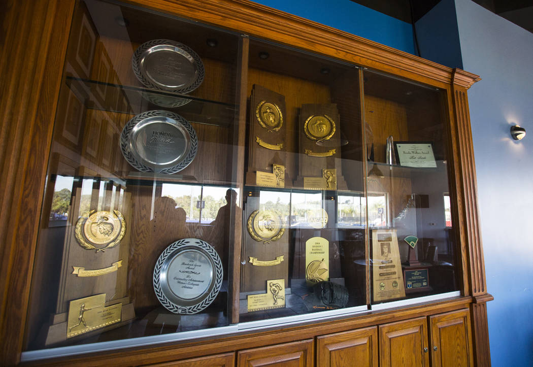 A variety of trophies, including four national championships, in the Cal State Fullerton baseball team clubhouse in Fullerton, Calif. on Wednesday, Oct. 31, 2018. Chase Stevens Las Vegas Review-Jo ...