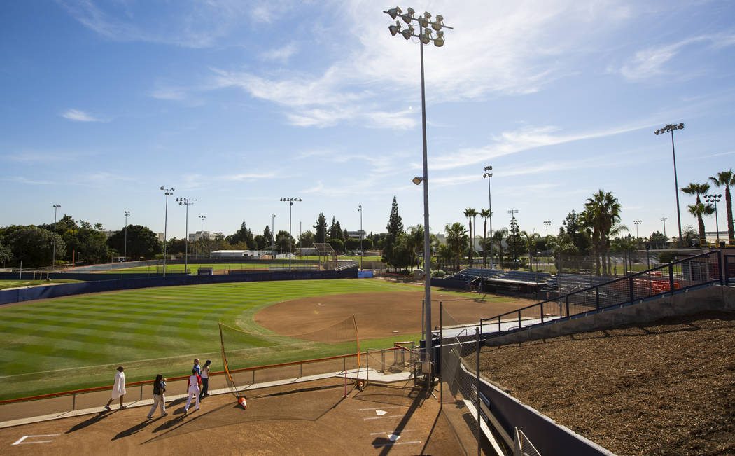 The softball field at Cal State Fullerton in Fullerton, Calif. on Wednesday, Oct. 31, 2018. Chase Stevens Las Vegas Review-Journal @csstevensphoto