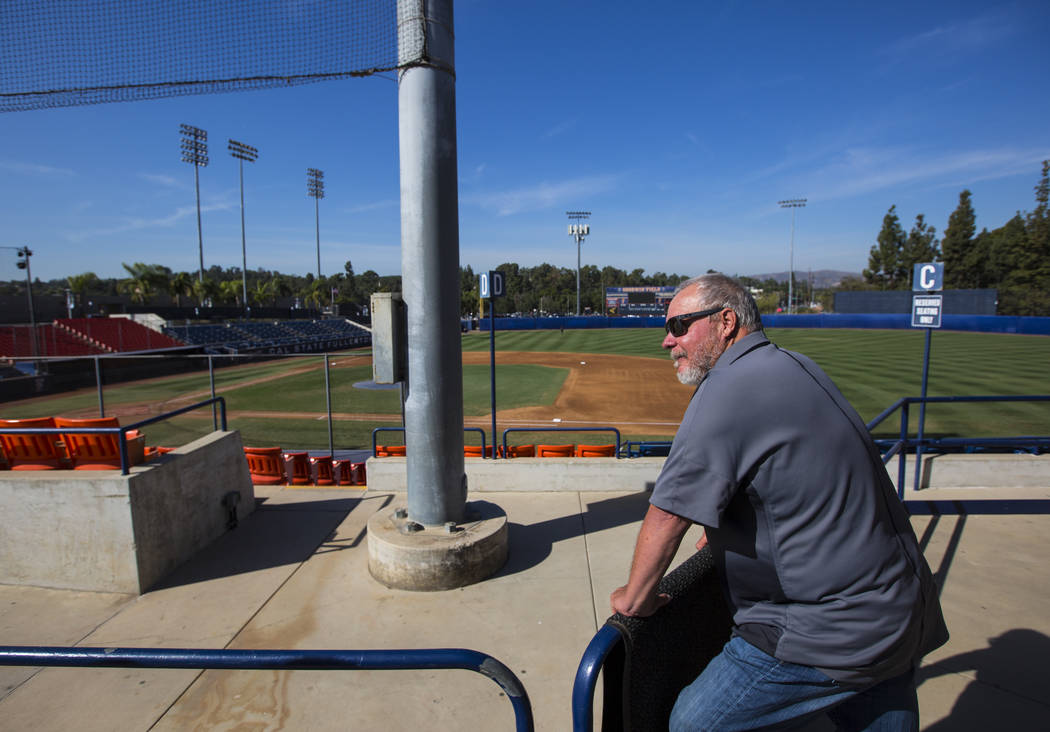 Baseball head coach Rick Vanderhook looks over Goodwin Field at Cal State Fullerton in Fullerton, Calif. on Wednesday, Oct. 31, 2018. Chase Stevens Las Vegas Review-Journal @csstevensphoto