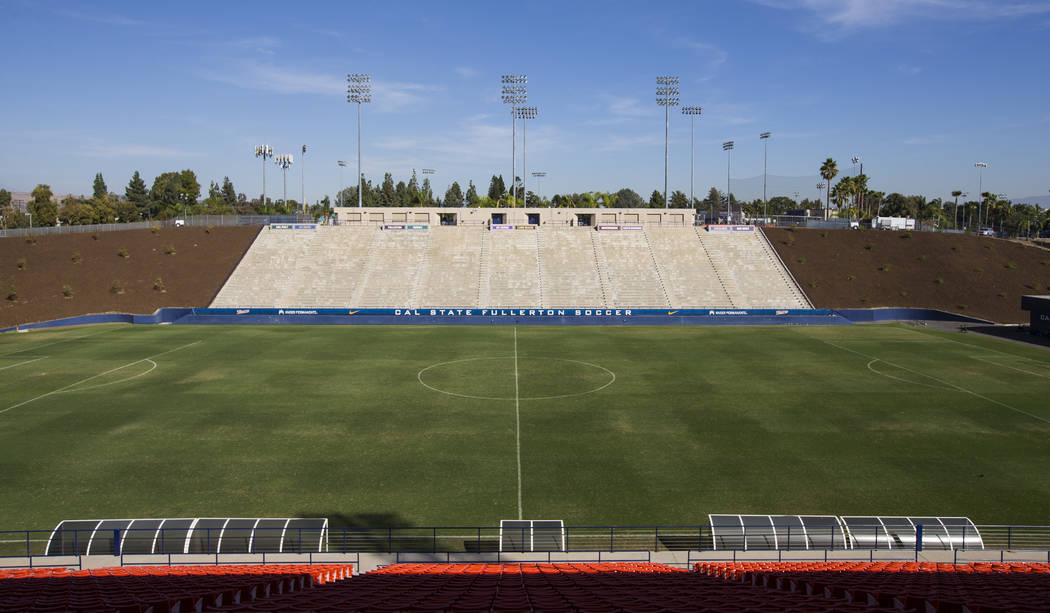 Titan Stadium, formerly the home of the football program, at Cal State Fullerton in Fullerton, Calif. on Wednesday, Oct. 31, 2018. Chase Stevens Las Vegas Review-Journal @csstevensphoto
