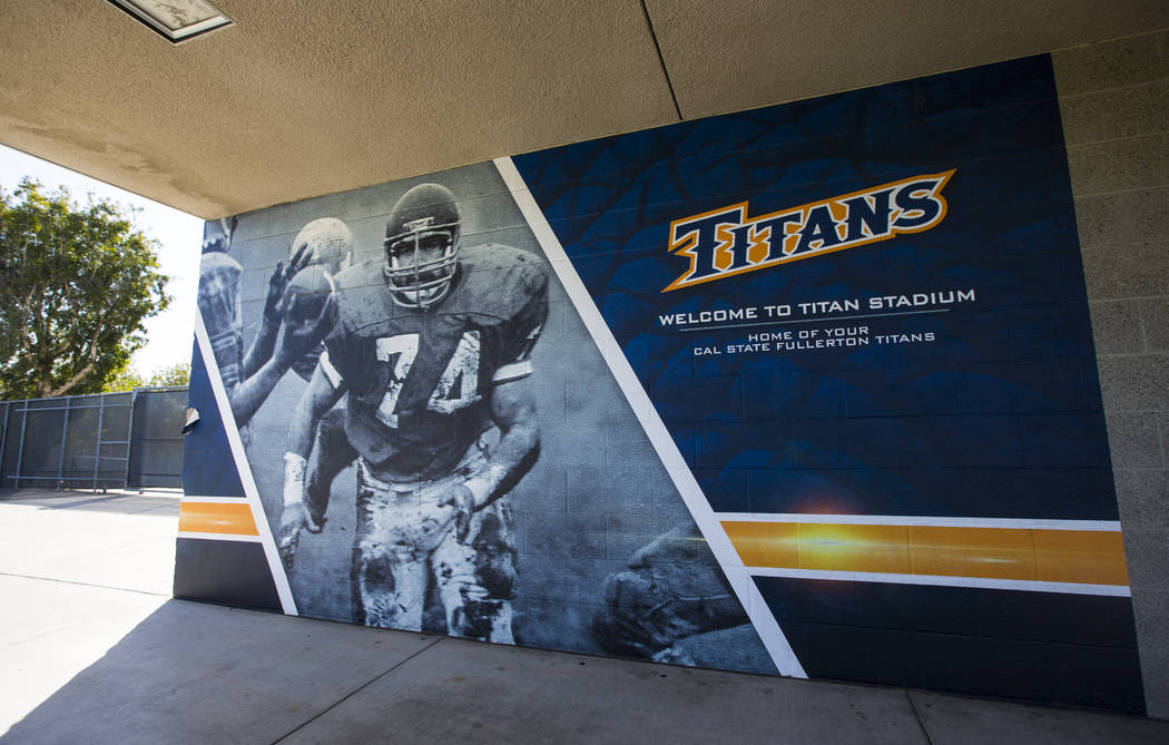 Historic photos of the former Titan football program displayed at Titan Stadium at Cal State Fullerton in Fullerton, Calif. on Wednesday, Oct. 31, 2018. Chase Stevens Las Vegas Review-Journal @css ...