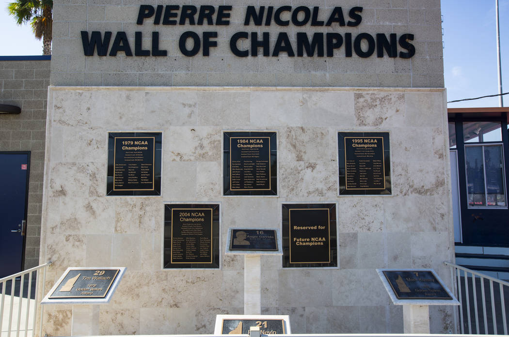 The Cal State Fullerton baseball team has won four national championships, as displayed at Goodwin Field, in Fullerton, Calif. on Wednesday, Oct. 31, 2018. Chase Stevens Las Vegas Review-Journal @ ...