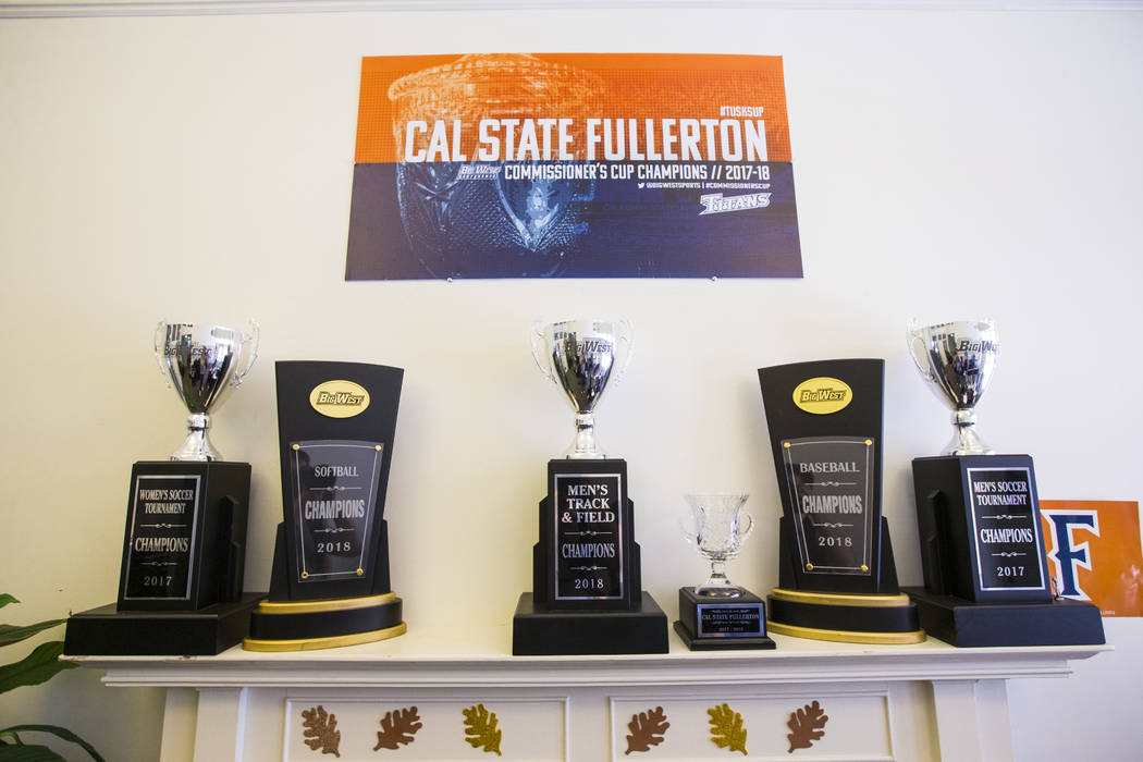 Big West conference trophies from a variety of athletic programs at Cal State Fullerton in Fullerton, Calif. on Wednesday, Oct. 31, 2018. Chase Stevens Las Vegas Review-Journal @csstevensphoto