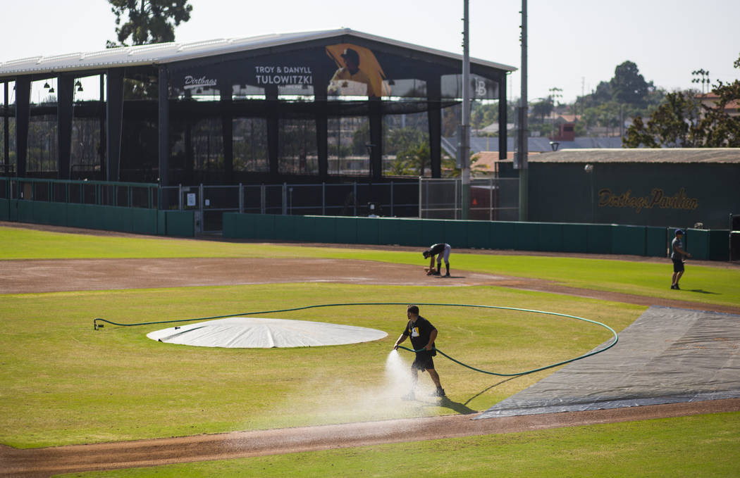 Blair Field in Long Beach, Calif., the off-campus field used by the Long Beach State Dirtbags baseball program, on Tuesday, Oct. 30, 2018. Chase Stevens Las Vegas Review-Journal @csstevensphoto