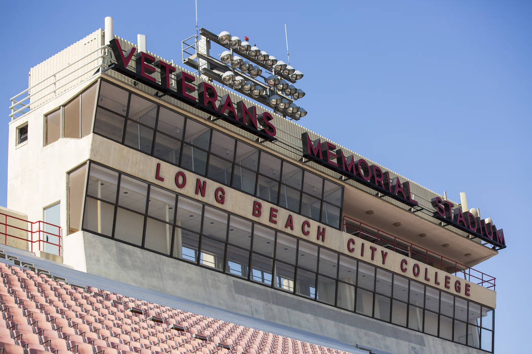 Veterans Memorial Stadium, former home of the Long Beach State football program, in Long Beach, Calif. on Tuesday, Oct. 30, 2018. The stadium is used by Long Beach City College football team along ...