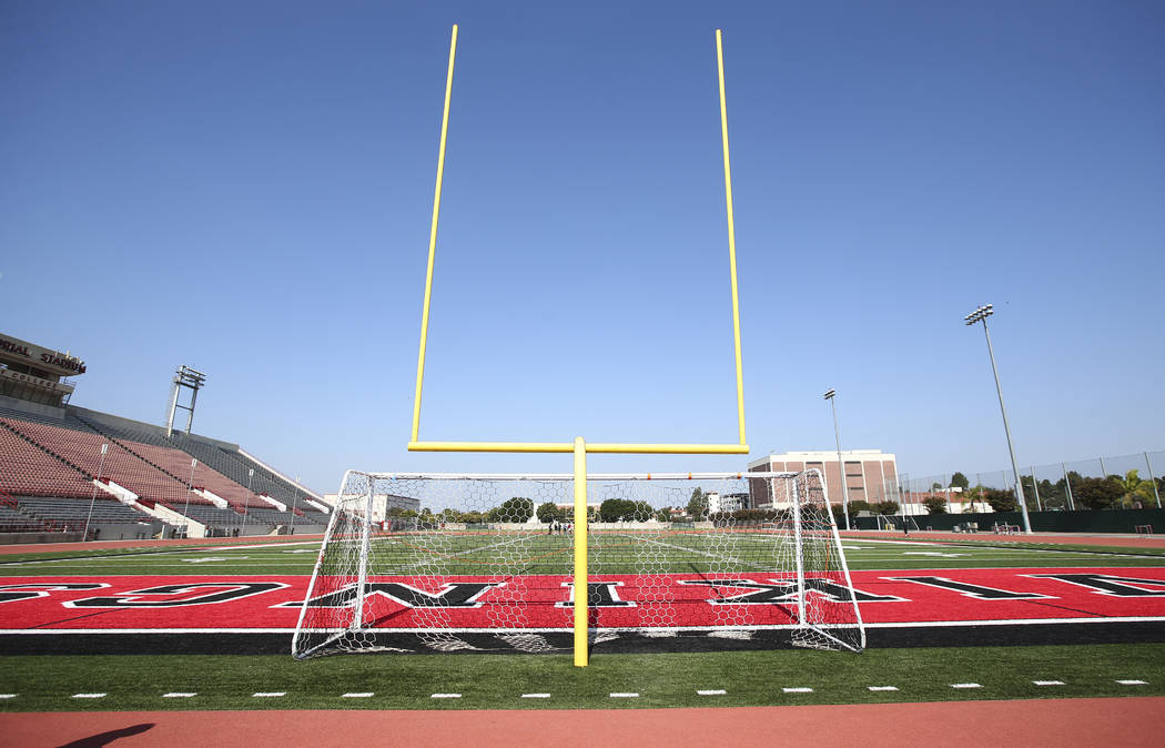 The field at Veterans Memorial Stadium, former home of the Long Beach State football program, in Long Beach, Calif. on Tuesday, Oct. 30, 2018. The stadium is used by Long Beach City College footba ...