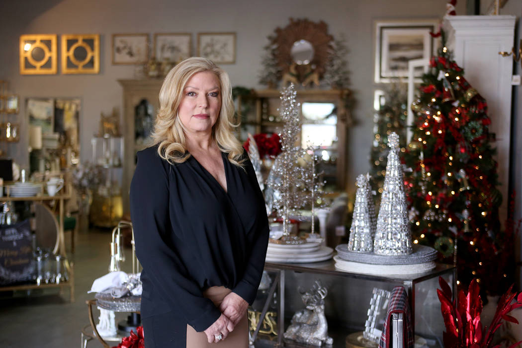 """Debra Newell at her store Ambrosia Home in Las Vegas, Tuesday, Nov. 20, 2018. Newell's previous relationship with a violent con man was the subject of the true-crime podcast """"Dirty John,&quot ..."""