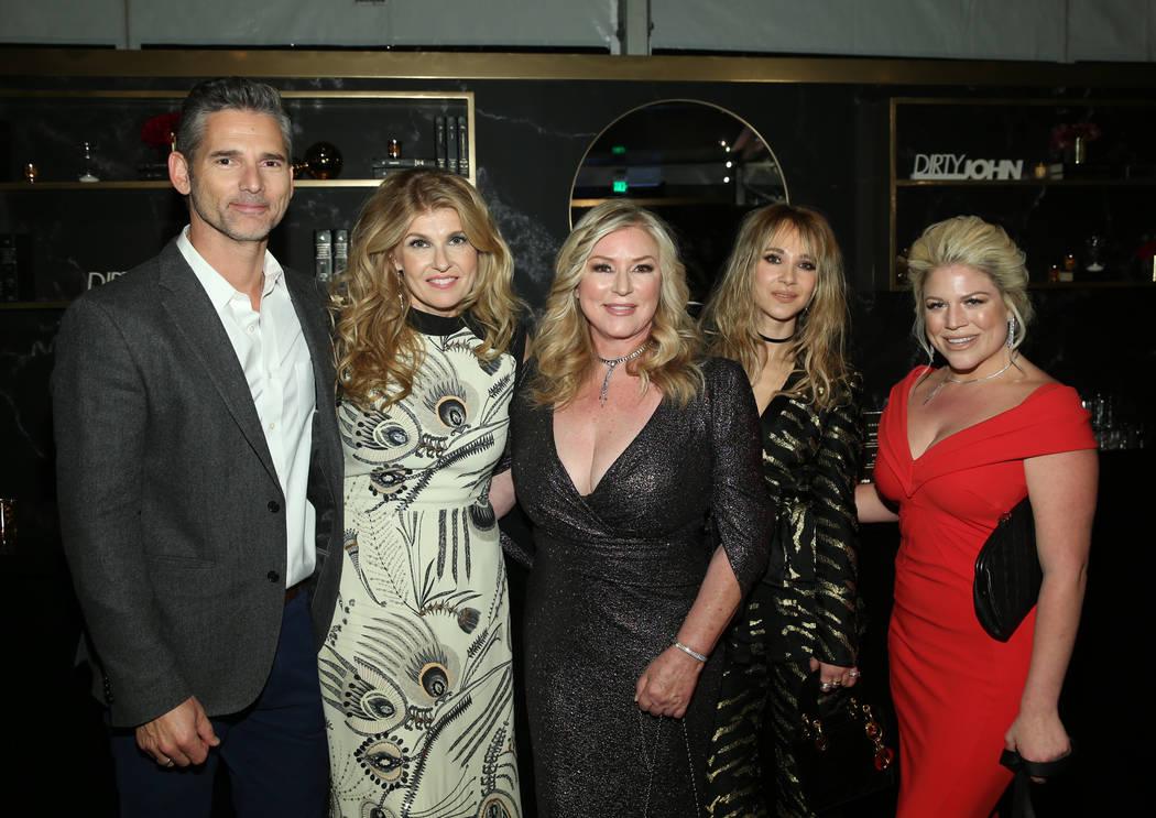 DIRTY JOHN -- Premiere Event -- Pictured: (l-r) Eric Bana, Connie Britton, Debra Newell, Juno Temple, Terra Newell -- (Photo by: Jesse Grant/NBC)
