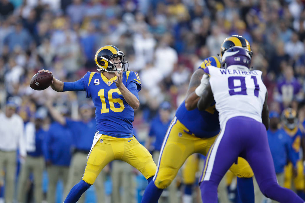 Los Angeles Rams quarterback Jared Goff throws a pass against the Minnesota Vikings during an NFL football game Thursday, Sept. 27, 2018, in Los Angeles. (AP Photo/Jae C. Hong)