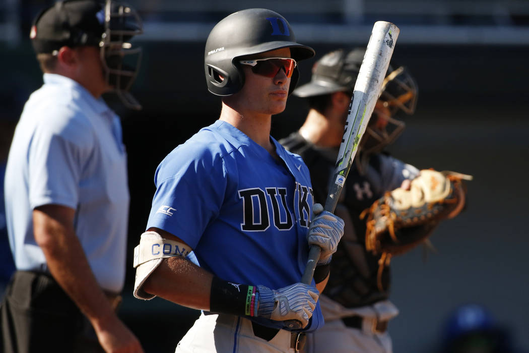 In this June 2, 2018, file photo, then-Duke's Griffin Conine gets ready to bat during an NCAA college baseball tournament regional game against Campbell, in Athens, Ga. Toronto outfielder Griffin ...