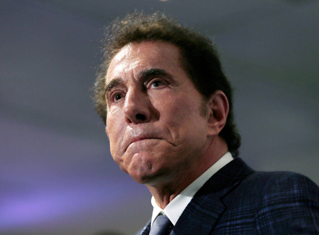FILE - This March 15, 2016, file photo, shows casino mogul Steve Wynn at a news conference in Medford, Mass. A judge in Nevada has temporarily blocked release of a Massachusetts Gaming Commission ...