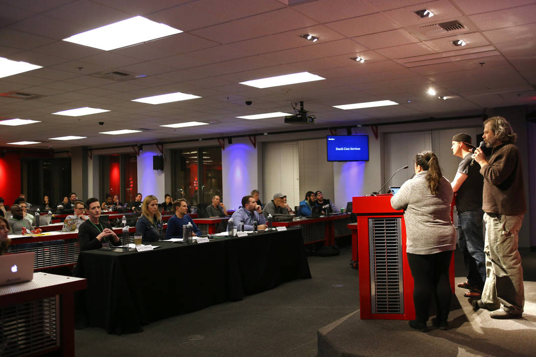Members of the team Remember deliver their pitch for their company at the 2018 Techstars Startup Weekend at Rob Roy's Innevation Center in Las Vegas, Sunday, Nov. 18, 2018. With the help of entrep ...