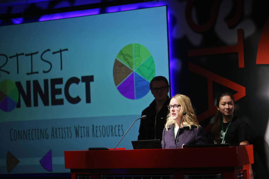 Andrea Cheaney delivers her team pitch for Artist Connect at the 2018 Techstars Startup Weekend at Rob Roy's Innevation Center in Las Vegas, Sunday, Nov. 18, 2018. With the help of entrepreneurial ...