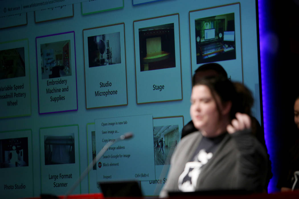The screen shows how users would browse gear for rent as part of the pitch of the team Artist Connect at the 2018 Techstars Startup Weekend at Rob Roy's Innevation Center in Las Vegas, Sunday, Nov ...