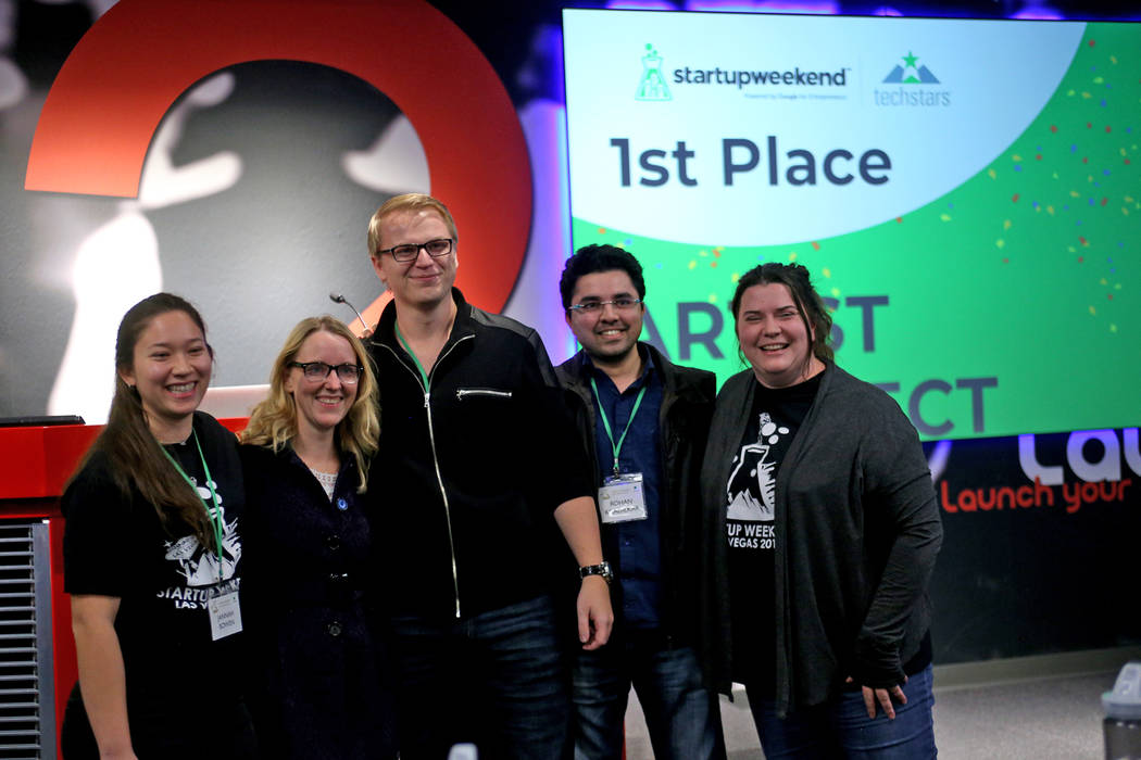 Members of the team Artist Connect, from left, Jannah Bowen, Andrea Cheaney, Tim Osterbuhr, Rohan Khadilkar, and Caren Keyes pose for a photo after winning first place at the 2018 Techstars Startu ...