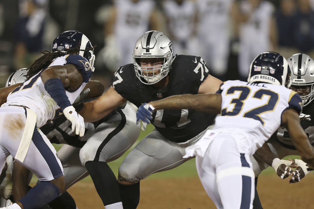 Oakland Raiders tackle Kolton Miller (77) blocks during an NFL football game against the Los Angeles Rams on Monday, Sept. 10, 2018, in Oakland, CA. The Rams won 33-13. (Daniel Gluskoter/AP Images ...