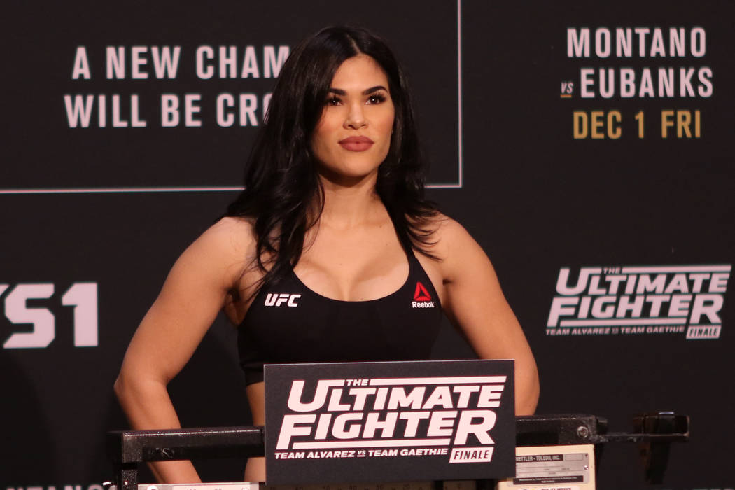 UFC flyweight Rachael Ostovich-Berdon on the scale at the official TUF 26 Finale weigh-ins at the Monte Carlo hotel-casino in Las Vegas, Thursday, Nov. 30, 2017. Heidi Fang Las Vegas Review-Journa ...