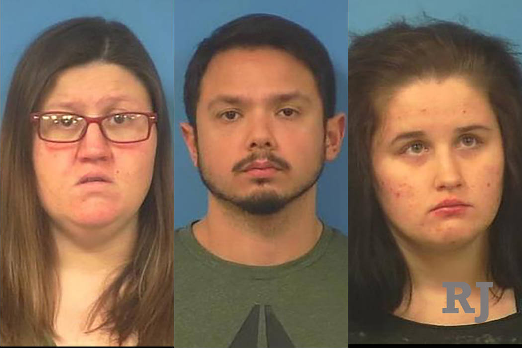 Chelsea Demille, 30, left, James Thatcher, 28, center, and Sandra Wombles, 19, right. (Nye County Sheriff's Office)