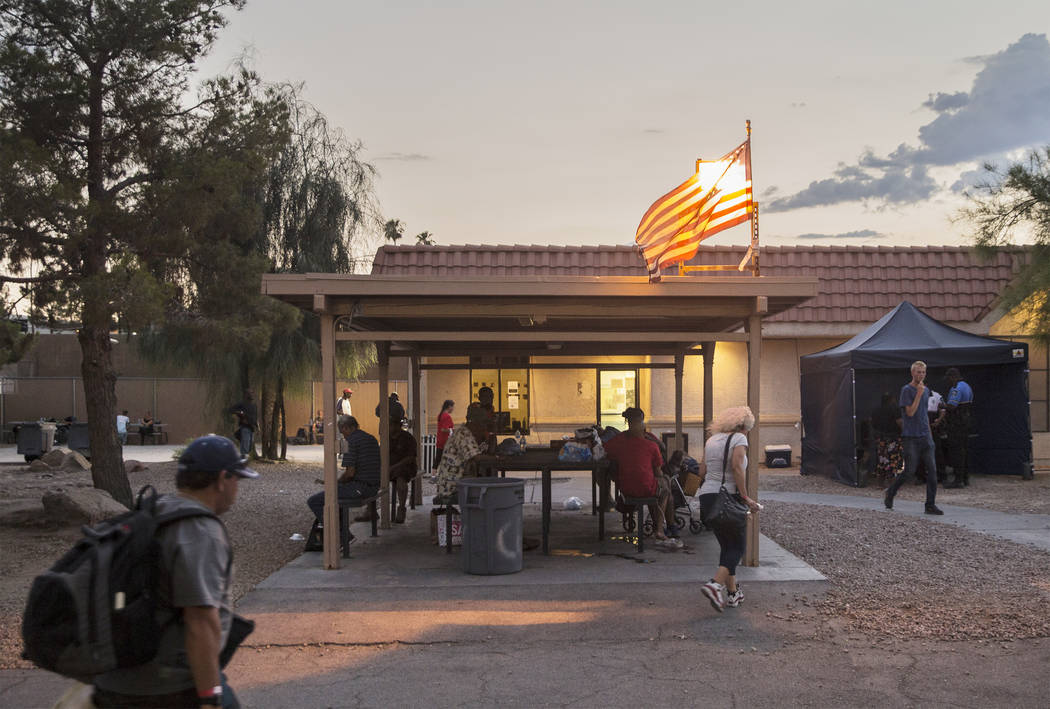 The city of Las Vegas' homeless courtyard on Thursday, July 27, 2018, in Las Vegas. The courtyard is now open 24 hours and offers new events and services. Benjamin Hager Las Vegas Review-Journal @ ...